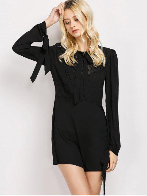 shop Lace Panel A-Line Dress - BLACK L Mobile