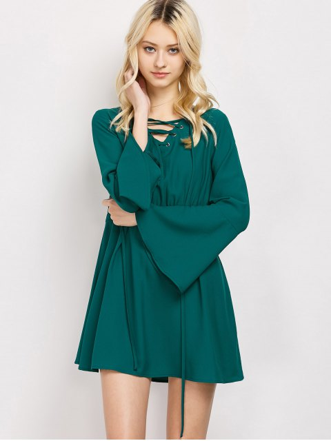 sale Lace-Up Mini Dress - GREEN 2XL Mobile