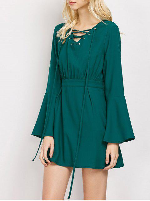 women Lace-Up Mini Dress - GREEN S Mobile