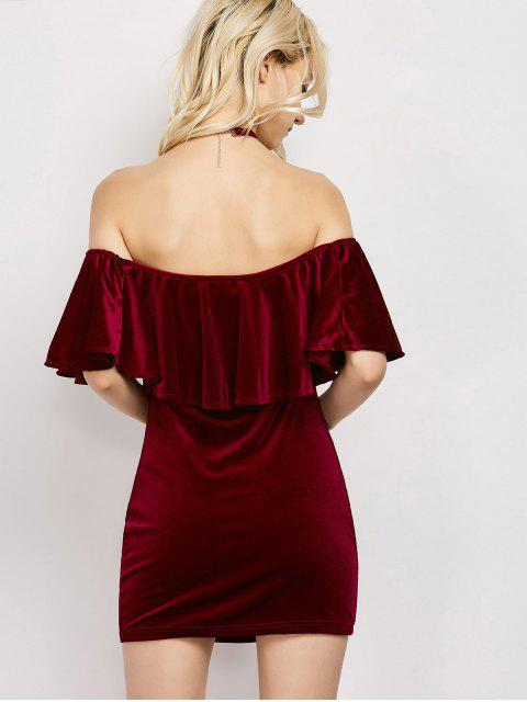 new Women Velvet Off The Shoulder Bodycon Dress - WINE RED XL Mobile