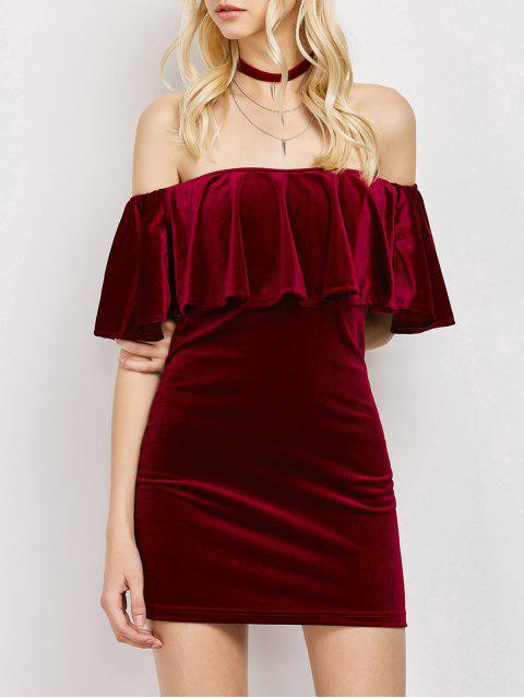 hot Women Velvet Off The Shoulder Bodycon Dress - WINE RED L Mobile