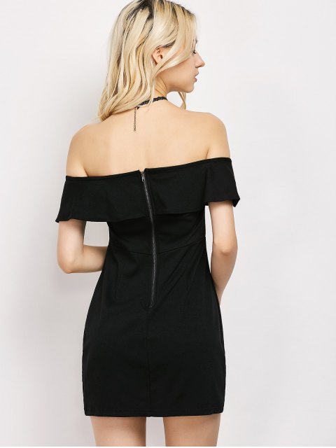 women's Rose Off The Shoulder Bodycon Dress - BLACK XL Mobile