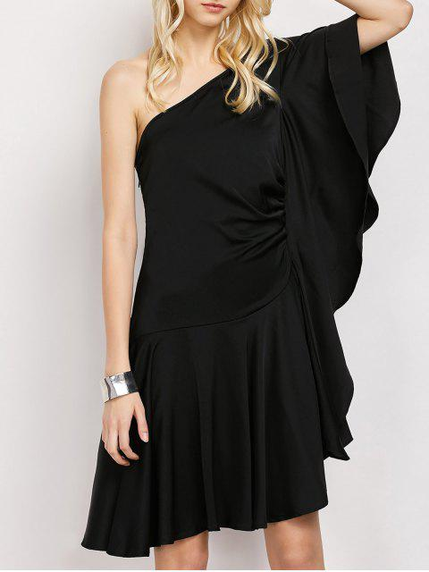 trendy One Shoulder Asymmetric Semi Formal Dress - BLACK M Mobile