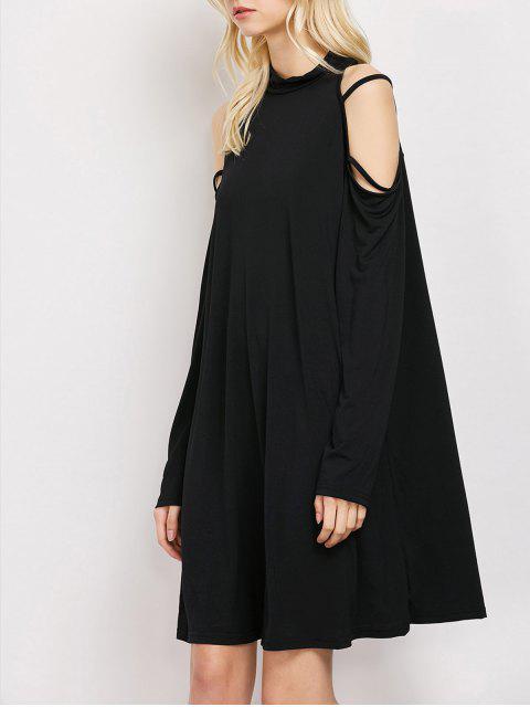 womens Long Sleeve Loose Cold Shoulder Swing Dress - BLACK XL Mobile