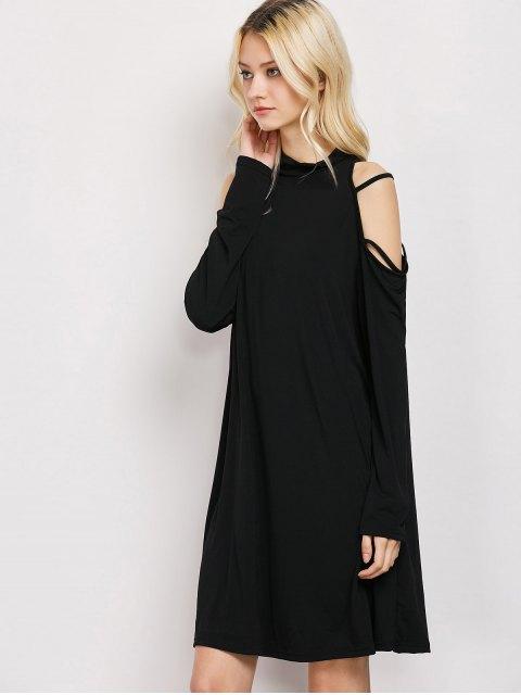 ladies Long Sleeve Loose Cold Shoulder Swing Dress - BLACK S Mobile