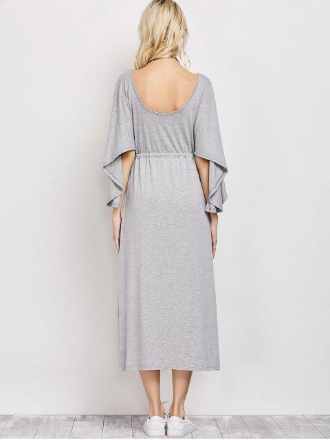 buy V Neck Drawstring Loose Maxi Dress - LIGHT GRAY L Mobile