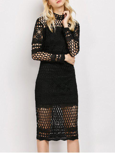 buy Long Sleeve Geometric Lace Dress - BLACK L Mobile