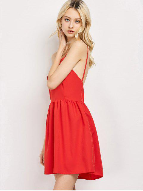 fancy Puffball Backless Prom Dress - RED XL Mobile