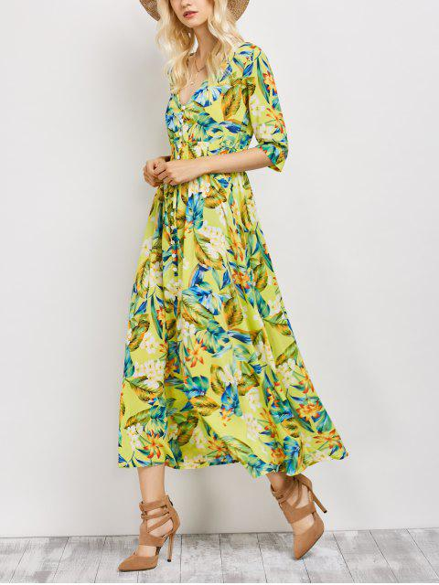 outfit Plunge Neck Bohemian Tropical Floral Maxi Dress - FLORAL XL Mobile