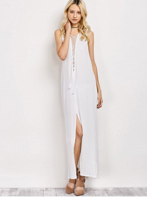 outfit High Slit Lace-Up Maxi Dress - WHITE M Mobile