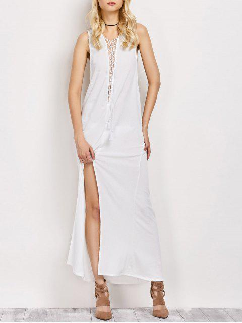 hot High Slit Lace-Up Maxi Dress - WHITE L Mobile