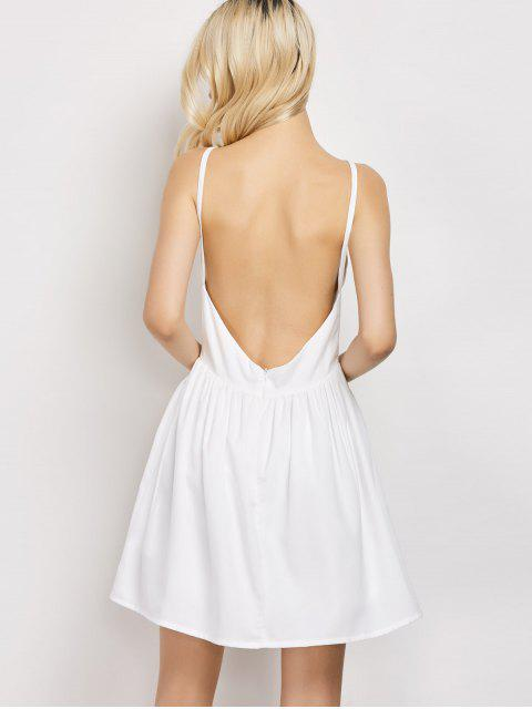 latest Puffball Backless Prom Dress - WHITE L Mobile