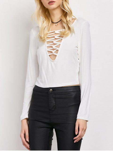 ladies Cut Out Lace-Up T-Shirt - WHITE M Mobile