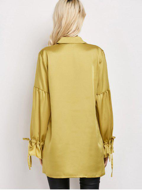 chic Lantern Sleeve Long Vintage Shirt - CELADON S Mobile