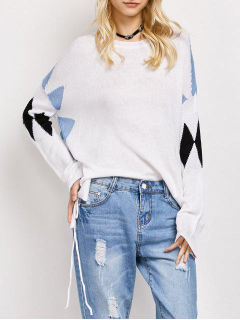 affordable Lace Up Color Block Oversized Sweater - WHITE L Mobile