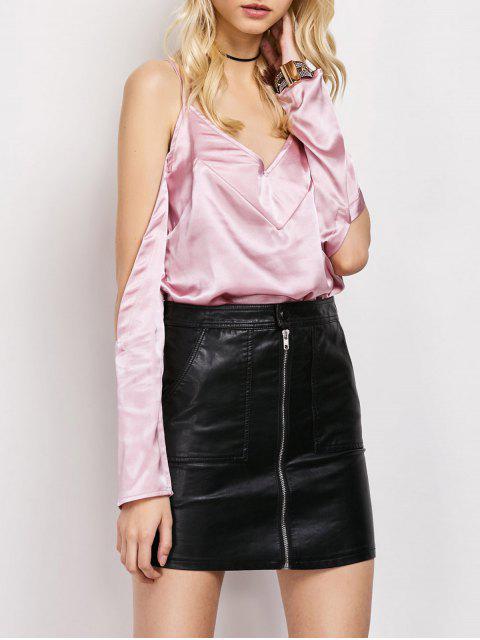 fashion Cold Shoulder Satin Cami Top - PINK L Mobile