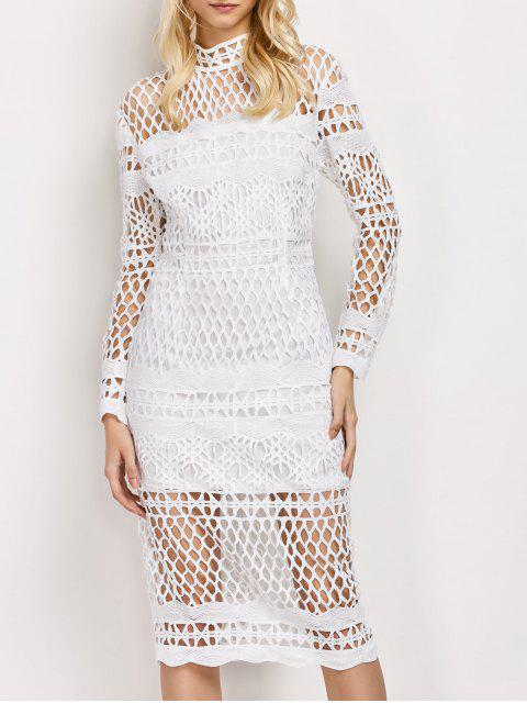 women's Long Sleeve Geometric Lace Dress - WHITE M Mobile
