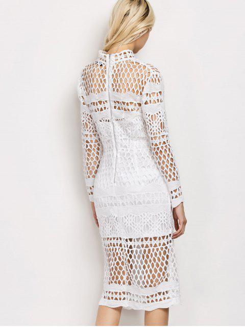 ladies Long Sleeve Geometric Lace Dress - WHITE S Mobile