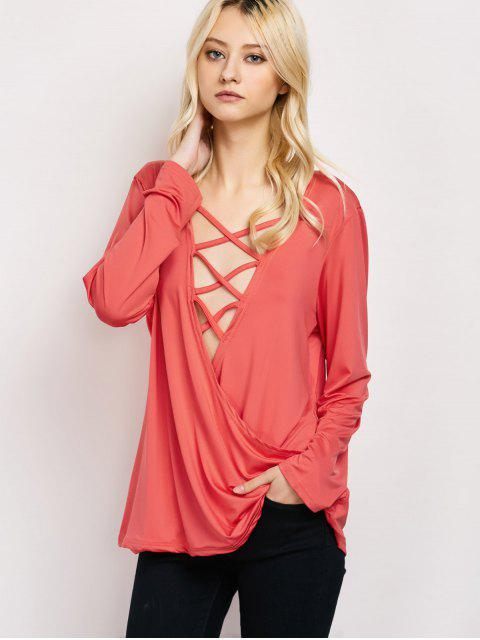 best Wrap Cut Out T-Shirt - RED XL Mobile