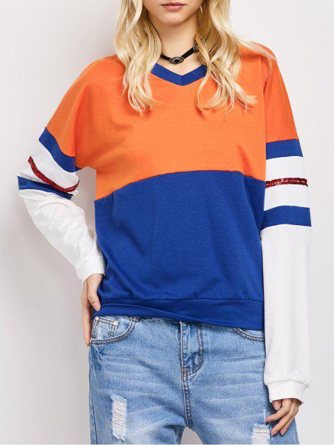 best Color Block Casual Sweatshirt - BLUE 2XL Mobile