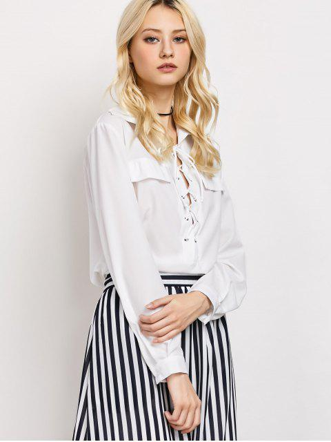 new High-Low Lace-Up Shirt - WHITE 2XL Mobile