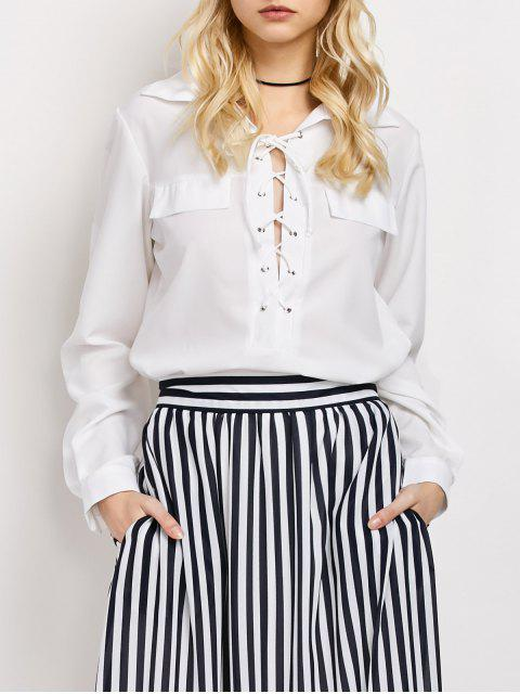 shop High-Low Lace-Up Shirt - WHITE S Mobile