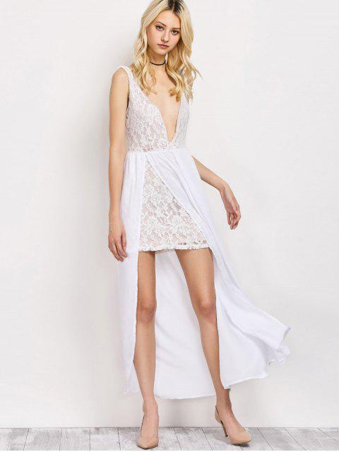 lady Lace Panel Slit Prom Dress - WHITE 2XL Mobile