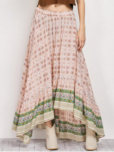 shops Patterned High Low Maxi Boho Skirt - PINK M Mobile