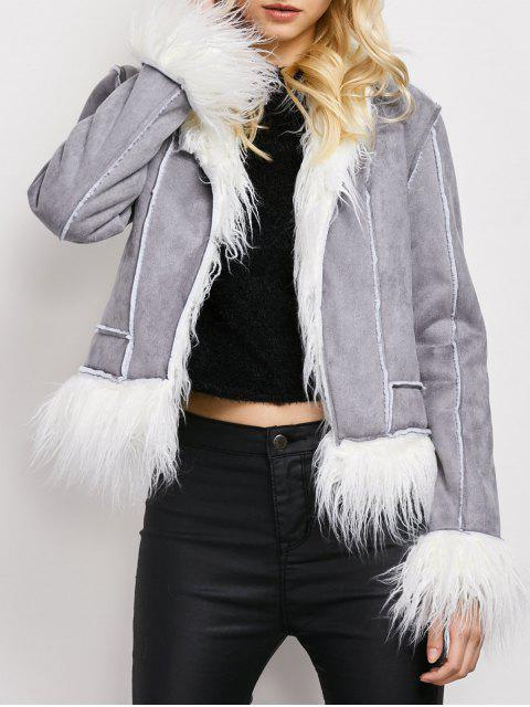 affordable Faux Fur Trim Faux Shearling Jacket - GRAY L Mobile