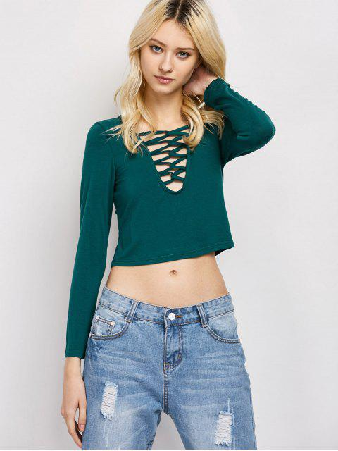 fashion Cut Out Lace-Up T-Shirt - GREEN XL Mobile