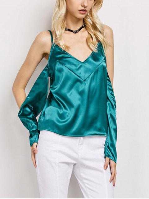 lady Cold Shoulder Satin Cami Top - GREEN L Mobile
