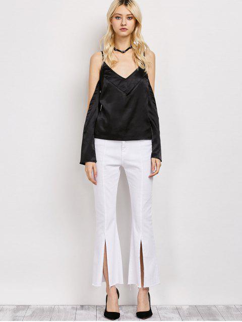 new Cold Shoulder Satin Cami Top - BLACK L Mobile