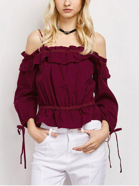 fashion Ruffles Cami Cold Shoulder Blouse - RED L Mobile