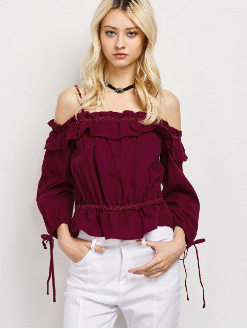 latest Ruffles Cami Cold Shoulder Blouse - RED 2XL Mobile