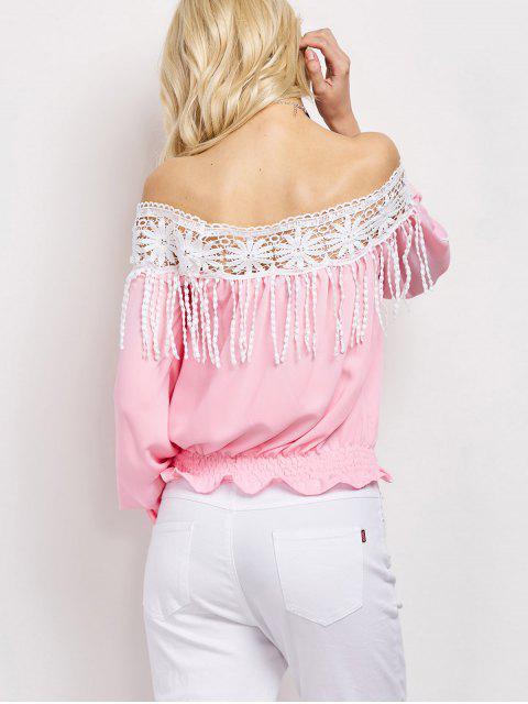 sale Cut Out Off The Shoulder Blouse - PINK XL Mobile