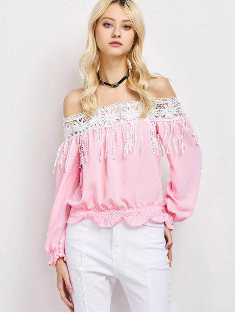 buy Cut Out Off The Shoulder Blouse - PINK M Mobile
