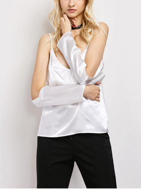 shop Cold Shoulder Satin Cami Top - WHITE M Mobile