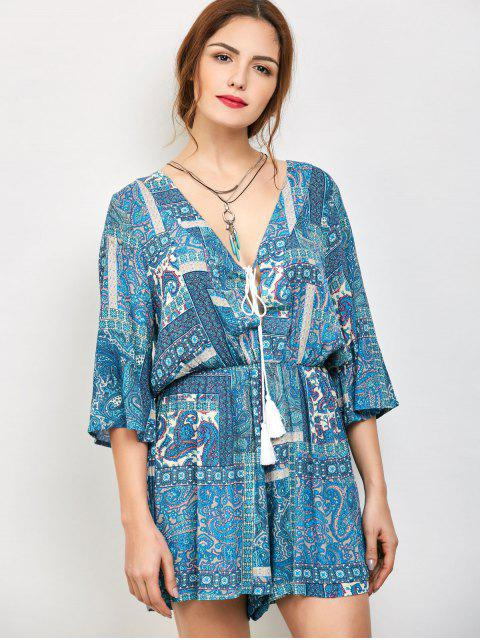 new Paisley Print V Neck Lace Up Playsuit - AZURE M Mobile