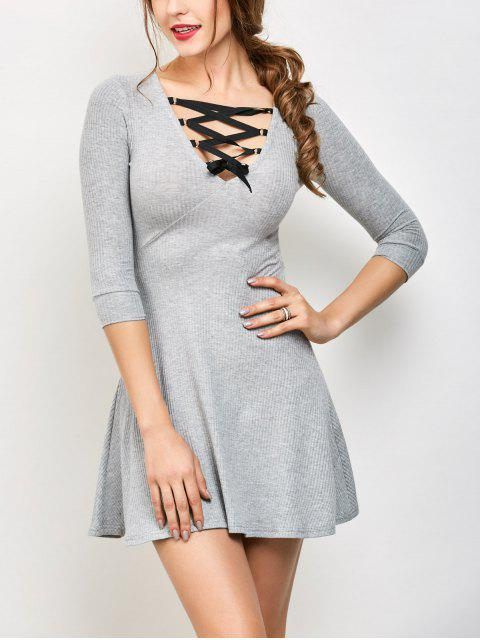 women's V Neck Lace Up Ribbed Jumper Dress - GRAY S Mobile