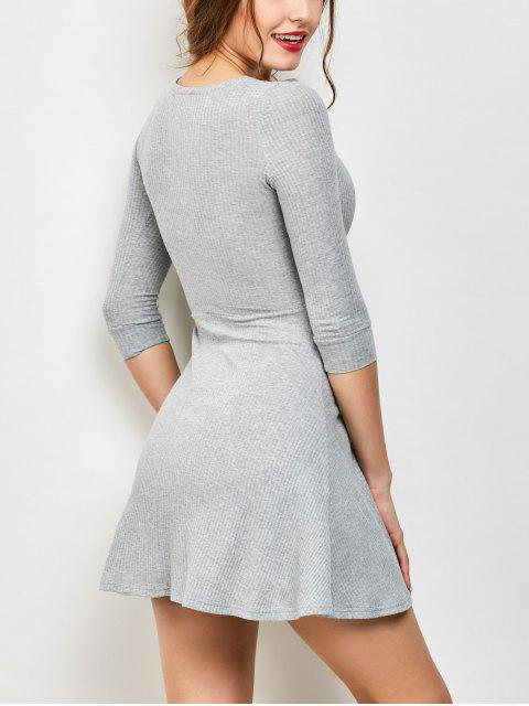 women's V Neck Lace Up Ribbed Jumper Dress - GRAY S Mobile