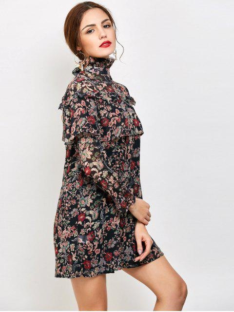 women's Long Sleeve Tiny Floral Ruffles Dress - FLORAL L Mobile