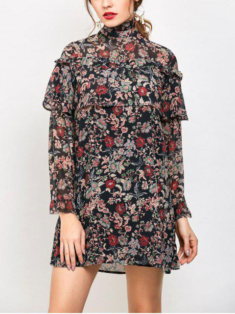 ladies Long Sleeve Tiny Floral Ruffles Dress - FLORAL M Mobile