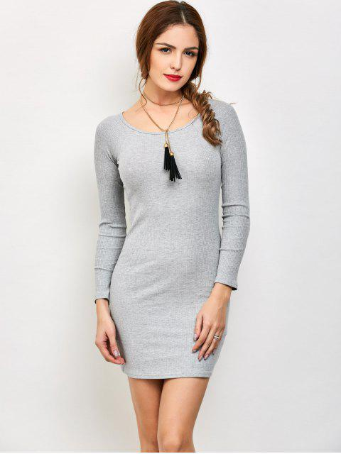 unique Strappy Long Sleeve Ribbed Sweater Dress - GRAY S Mobile
