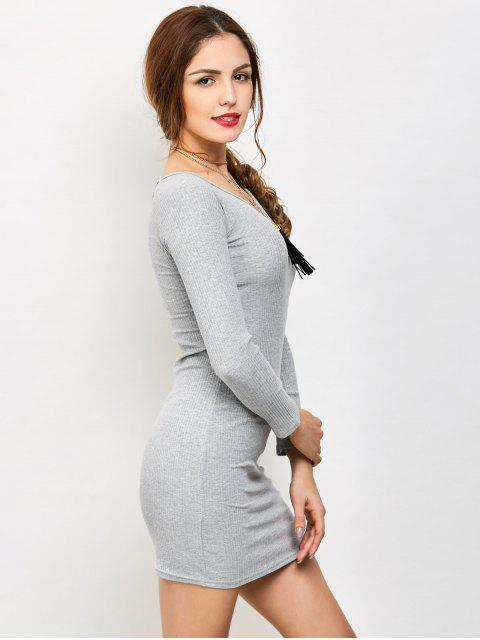 fancy Strappy Long Sleeve Ribbed Sweater Dress - GRAY M Mobile