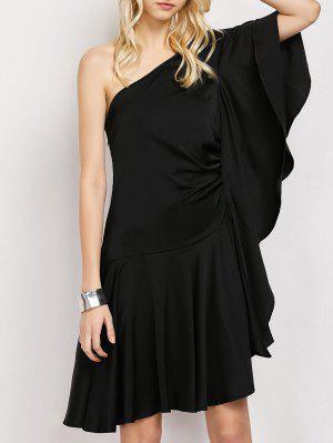Vestido Asimétrico Un Hombro Volantes  - Negro L