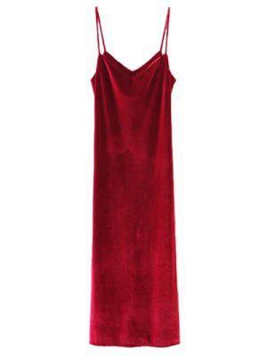 Casual Velvet Maxi Slip Dress - Wine Red M
