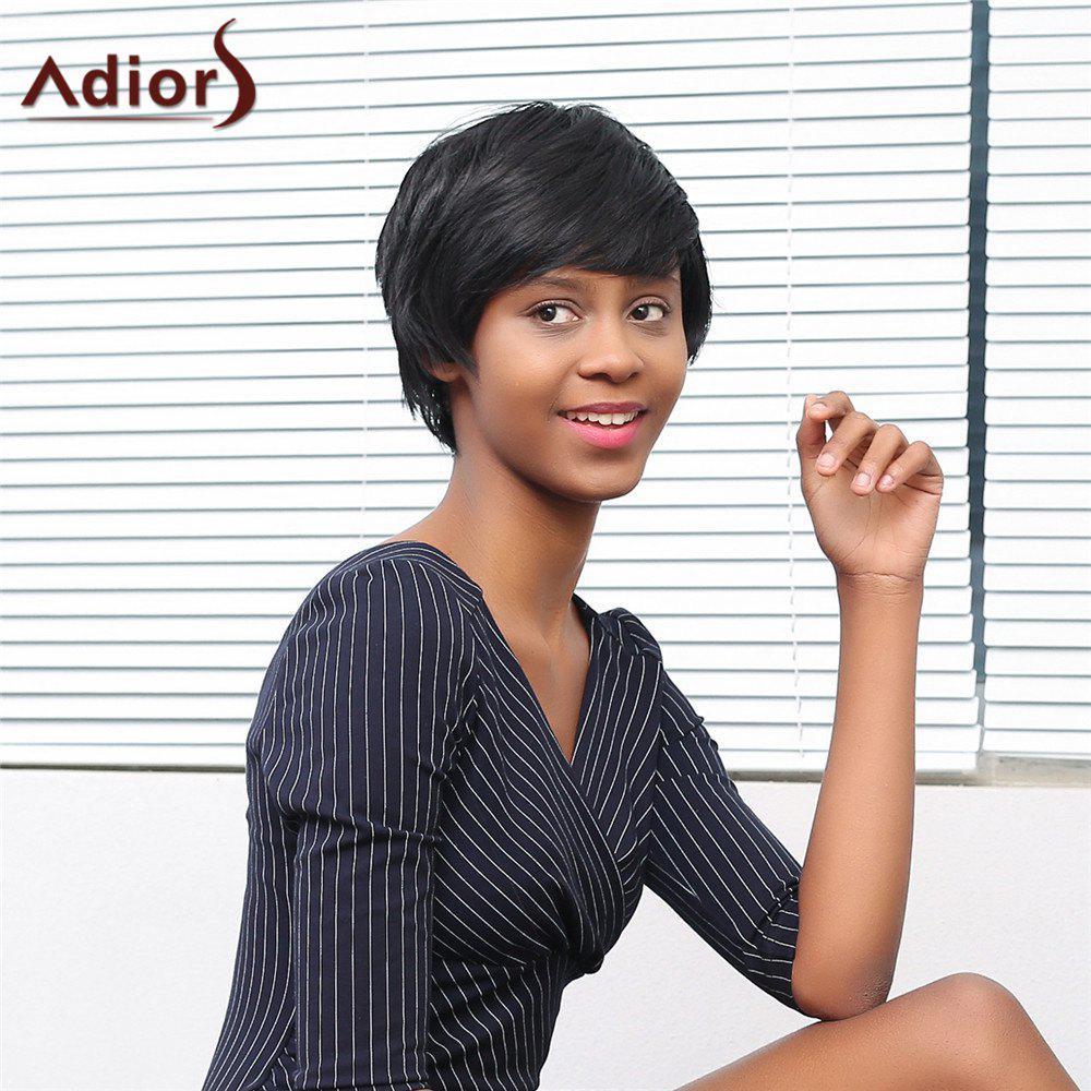 Adiors Short Oblique Bang Straight Fluffy Synthetic Wig 206372601
