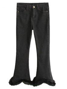 Pantalones Vaqueros Bota Ancha Cintura Alta Noveno Rizado - Negro Xl