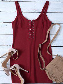 Straps Lace Up Bodycon Mini Dress - Red M