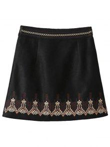 Embroidered Corduroy Skirt - Black M